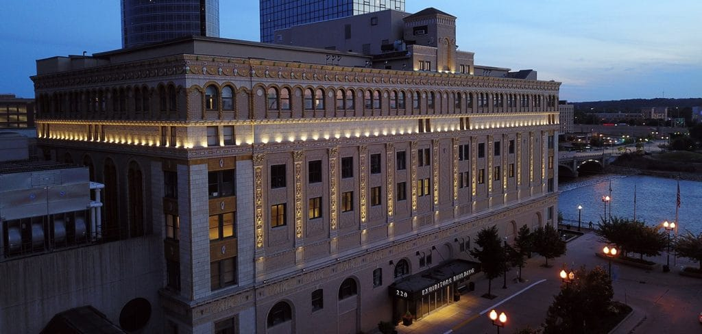 Amway Hospitality Corporation (AHC) engaged Bradley Company to manage the Exhibitors Building, an eight-story commercial office building listed on the National Register of Historic Places.