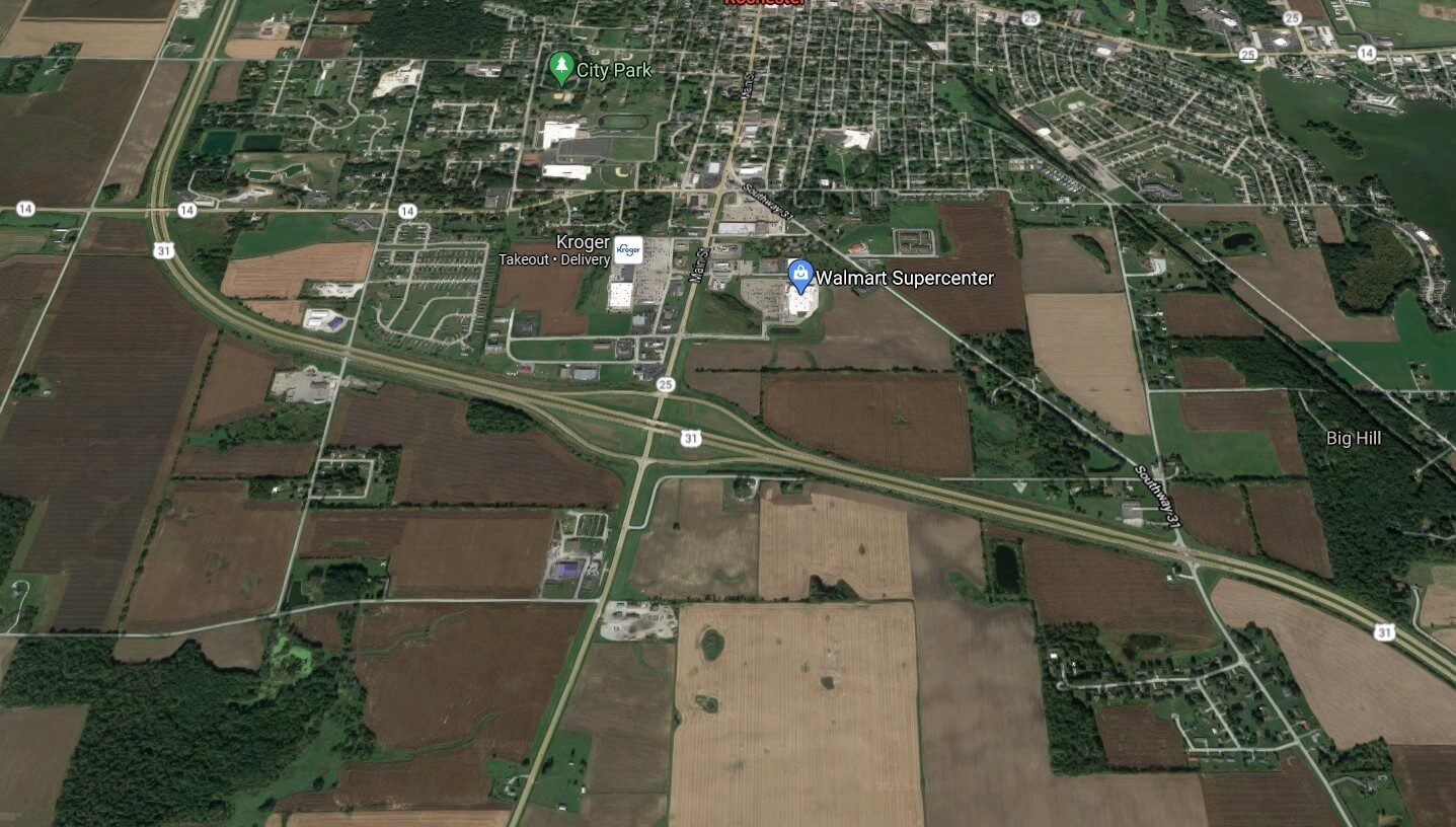 Bradley Company had an 84-acre land listing near the intersection of US 25 and US 31 in Rochester, Indiana.