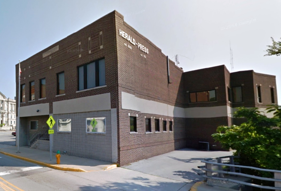 Ouabache Holdings, LLC (buyer) and PMG Acquisitions (seller) and will move operations into the old Herald-Press building.